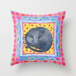 Sleepy Grey Cat Throw Pillow