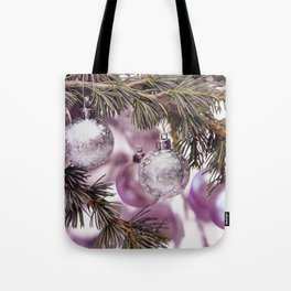 Pink Christmas shimmering baubles twig Tote Bag