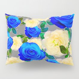 CHARCOAL GREY DECORATIVE WHITE & BLUE ROSE GARDEN Pillow Sham