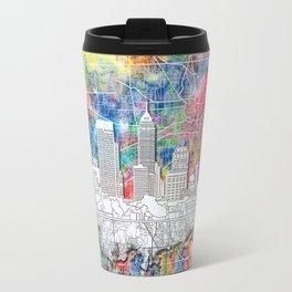 indianapolis city skyline watercolor Travel Mug