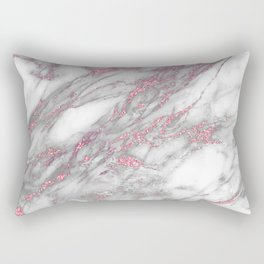Gray & pink glitter faux messy marble texture Rectangular Pillow
