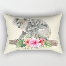 Watercolor Koala Bears Cute Mom & Baby Rectangular Pillow