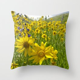 Golden meadow Throw Pillow