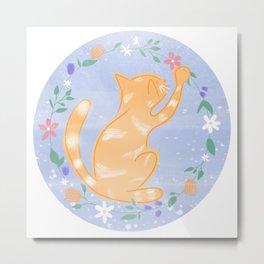 Ginger Floral Cat - Lilac  Metal Print