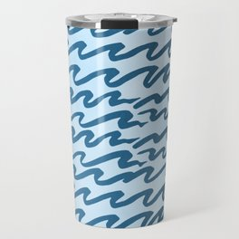 Abstract Metallic Sea Waves Saltwater Taffy Teal on Blue Raspberry Travel Mug