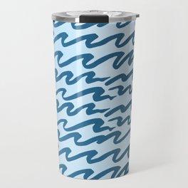 Abstract Metallic Sea Waves Saltwater Taffy Teal on Blue Raspberry Travel Mug