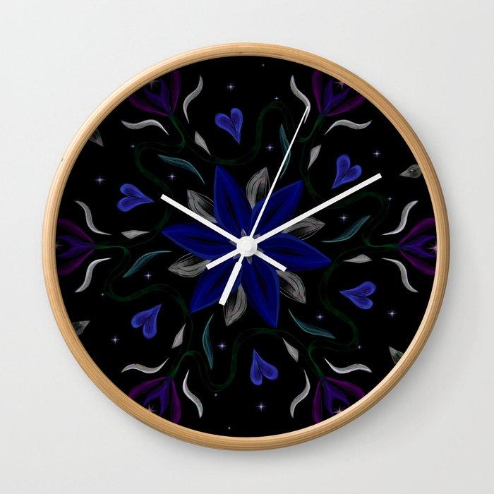 Blue Starflower Wall Clock