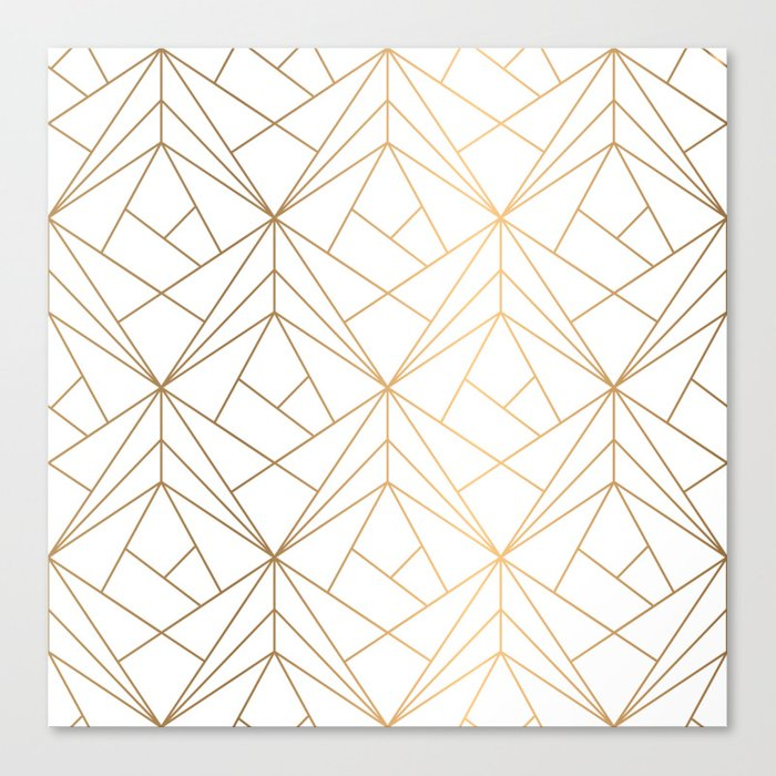 Geometric Gold Pattern With White Shimmer Leinwanddruck