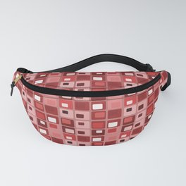 Retro Mid Century Modern Salmon Red Square Pattern Fanny Pack