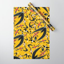 Swallows Martins and Swift pattern Yellow Wrapping Paper