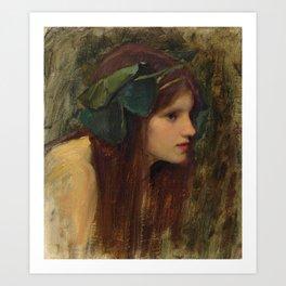 "John William Waterhouse ""Female head study for 'A Naiad'"" Art Print"