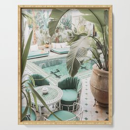 Travel Photography Art Print | Tropical Plant Leaves In Marrakech Photo | Green Pool Interior Design Serving Tray