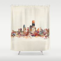 new jersey Shower Curtains featuring jersey city new jersey by bri.b