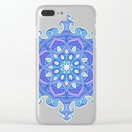 Blue ornate wavy pattern Clear iPhone Case