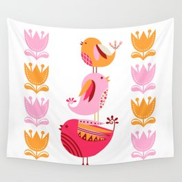 Happy Pink And Orange Birds And Blooms Wall Tapestry