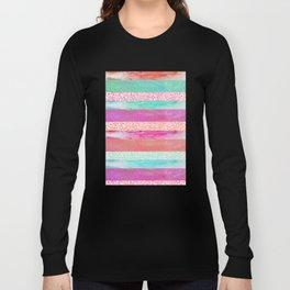 Tropical Stripes - Pink, Aqua And Peach Colorway Long Sleeve T-shirt