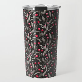 Modern pink red gray watercolor leaves berries pattern Travel Mug