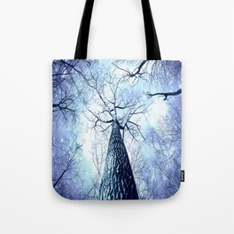 Wintry Trees Periwinkle Ice Blue Space Tote Bag