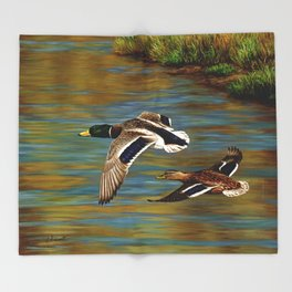 Mallard Ducks in Flight Throw Blanket