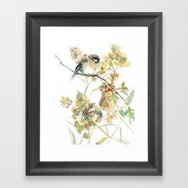 Sparrow and Dry Plants, fall foliage bird art bird design old fashion floral design Framed Art Print
