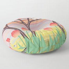chickadees, pussy willow, & tulips Floor Pillow