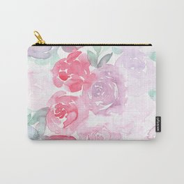 Pink and Purple Roses Carry-All Pouch