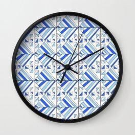 Symetric triangle 11 -vichy, gingham,strip,triangle,geometric, sober,tartan,mandala Wall Clock
