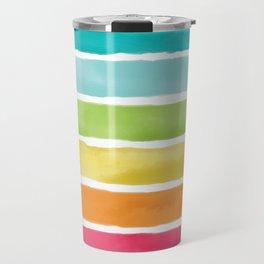 Watercolor Rainbow Stripes Travel Mug