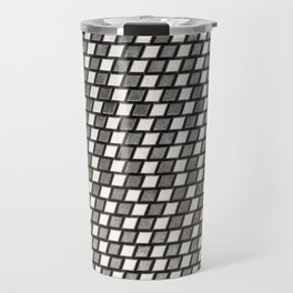 Irregular Chequers - Black Steel and Stelel - Industrial Chess Board Pattern Travel Mug