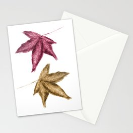 Red and Gold Leaves - Coloured pencil drawing Stationery Cards