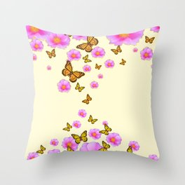 ABSTRACT PINK ROSES & MONARCH BUTTERFLIES Throw Pillow