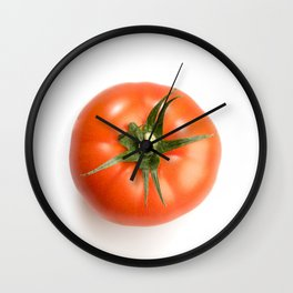One realistic looking fresh red tomato isolated in a white background top view Wall Clock