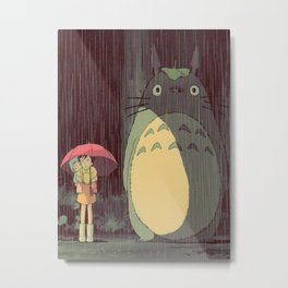 My Neighbor Totoro (Waiting for the bus in the rain IN THE RAIN) Metal Print