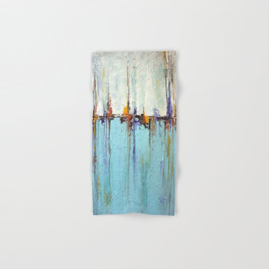 "Abstract White and Blue Painting – Textured Art – ""Sailing""  Hand & Bath Towel"