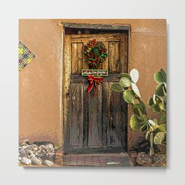 Old Wooden Door during Chistmas Time in Mesilla, N.M. Metal Print