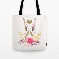 Golden Arrows and Heart Tote Bag
