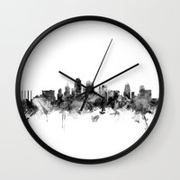kansas city Wall Clocks featuring Kansas City Skyline by artPause