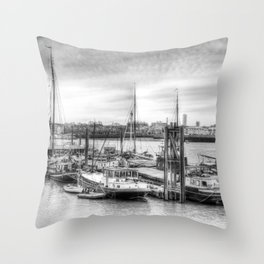 Boat community river Thames London Throw Pillow