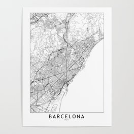 Barcelona White Map Poster