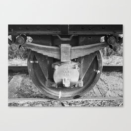 Black and white photography Old train wheel Canvas Print