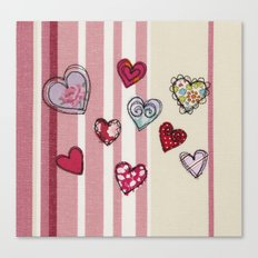Embroidered Heart Illustration Canvas Print
