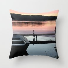 Boat and Pier Throw Pillow
