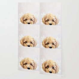 Toy poodle Dog illustration original painting print Wallpaper