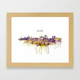Brussels Skyline Silhouette Framed Art Print