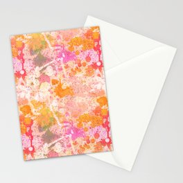 Abstract Paint Splatters Pink & Orange Stationery Cards