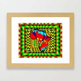 Colorful Painted Africa with Checkered Pattern Background Framed Art Print