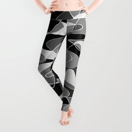 Black and white space waves distribution, cosmos abstraction, scientific texture design, pattern Leggings