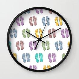 Happy coloured flip flops summer vibes Wall Clock