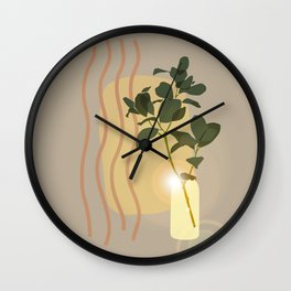 Green Leafed Plant Inside Vase, Sun Reflection Scene Wall Clock