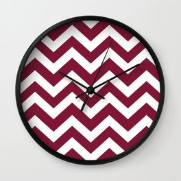Claret - purple color - Zigzag Chevron Pattern Wall Clock
